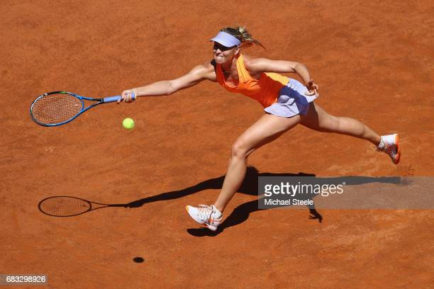 Maria Sharapova of Russia stretches for a return during her second round match against Christina McHale of USA on Day Two of The Internazionali BNL...