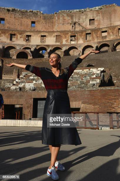 Maria Sharapova of Russia strikes a pose inside the Rome Colosseum on Day Two of The Internazionali BNL d'Italia 2017 at the Foro Italico on May 14...