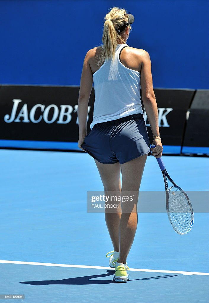 Maria Sharapova of Russia takes part in a practice session for the upcoming Australian Open tennis tournament in Melbourne on January 10, 2013. The first Grand Slam tennis tournament of the year is set to run from January 14 to 27. AFP PHOTO / Paul CROCK IMAGE