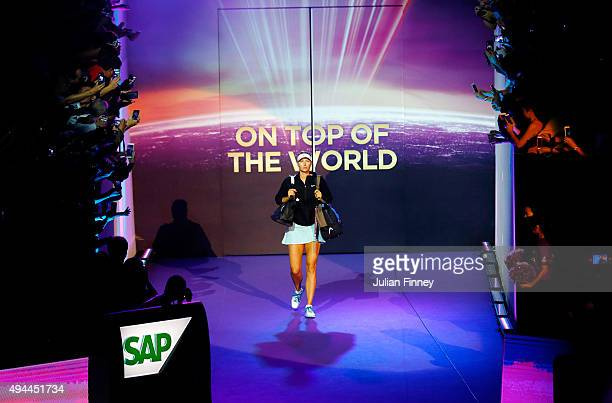 Maria Sharapova of Russia walks onto the court prior to her round robin match against Simona Halep of Romania during the BNP Paribas WTA Finals at...