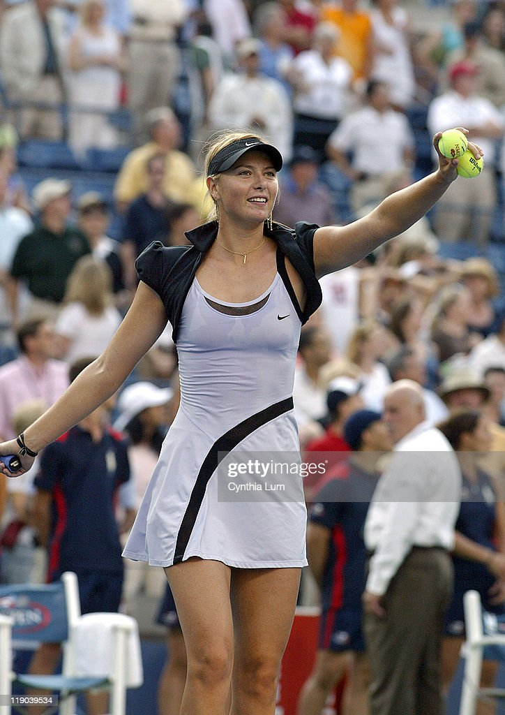 <a gi-track='captionPersonalityLinkClicked' href=/galleries/search?phrase=Maria+Sharapova&family=editorial&specificpeople=157600 ng-click='$event.stopPropagation()'>Maria Sharapova</a> reacts after winning her semifinal match against <a gi-track='captionPersonalityLinkClicked' href=/galleries/search?phrase=Amelie+Mauresmo&family=editorial&specificpeople=161389 ng-click='$event.stopPropagation()'>Amelie Mauresmo</a> at the 2006 US Open at the USTA Billie Jean King National Tennis Center in Flushing Meadows, Queens, New York on September 8, 2006.