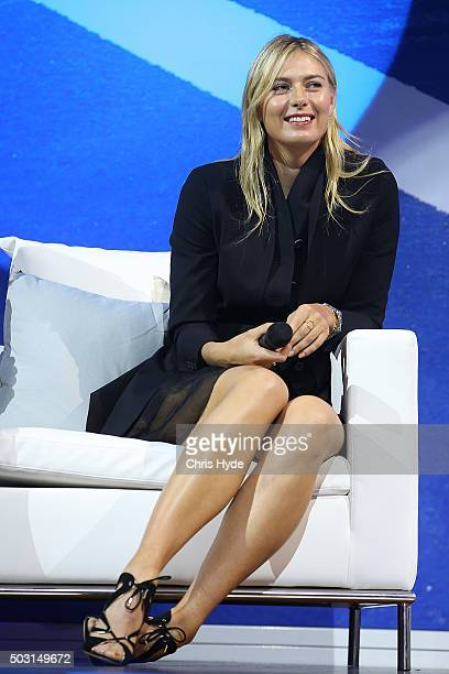 Maria Sharapova talks onstage during the Summer Nights player party at Brisbane City Hall ahead of the 2016 Brisbane International on January 2 2016...