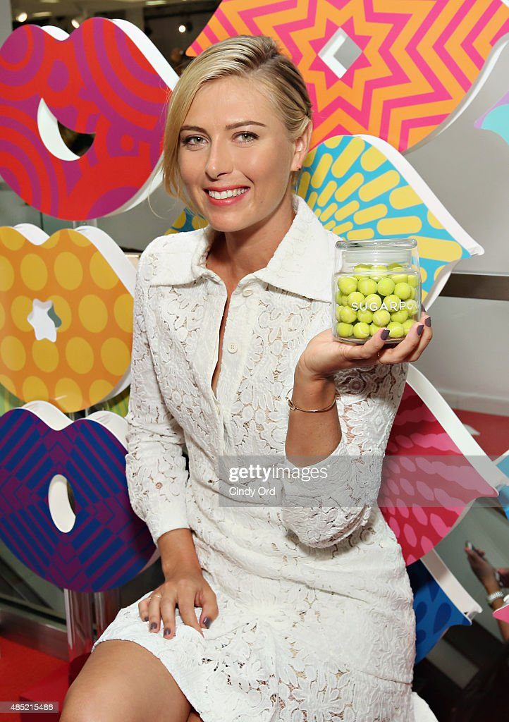 <a gi-track='captionPersonalityLinkClicked' href=/galleries/search?phrase=Maria+Sharapova&family=editorial&specificpeople=157600 ng-click='$event.stopPropagation()'>Maria Sharapova</a> unveils the new Sugarpova Pop-Up Shop at Bloomingdale's Flagship on August 25, 2015 in New York City.