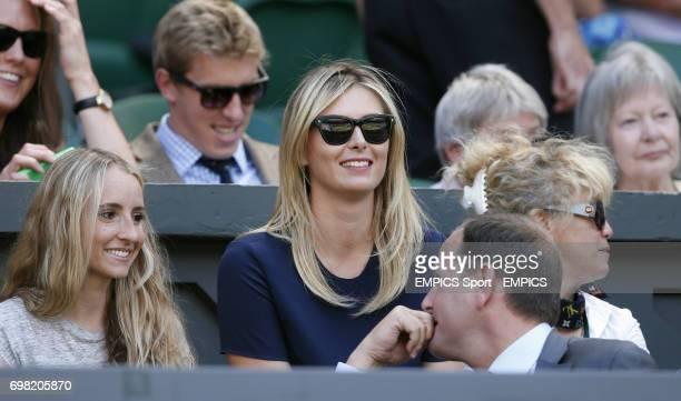 Maria Sharapova watches her boyfriend Grigor Dimitrov in his Semi Final against Serbia's Novak Djokovic on Centre Court