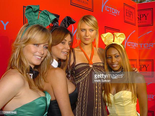 Maria Sharapova with Playboy Playmates Marketa Janska Ava Fabian and Nicole Narain