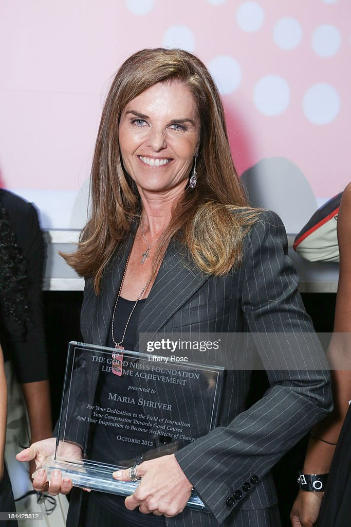 <a gi-track='captionPersonalityLinkClicked' href=/galleries/search?phrase=Maria+Shriver&family=editorial&specificpeople=179436 ng-click='$event.stopPropagation()'>Maria Shriver</a> accepts The Good News Fund Lifetime Achievement award at the Good News Foundation's Feel Good event of the year at The Beverly Hilton Hotel on October 13, 2013 in Beverly Hills, California.