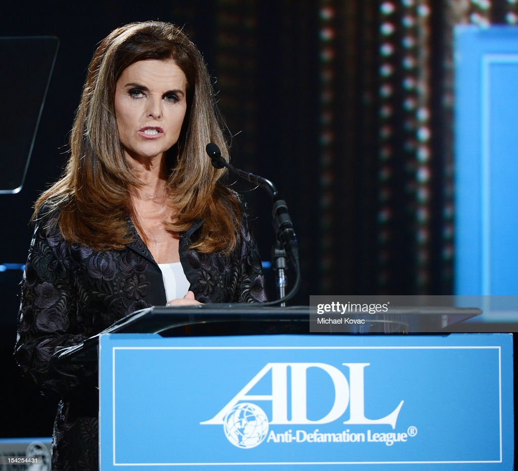 Maria Shriver presents onstage at the AntiDefamation League Entertainment Industry Awards Dinner Honoring David Weil And Rob Lowe at The Beverly...