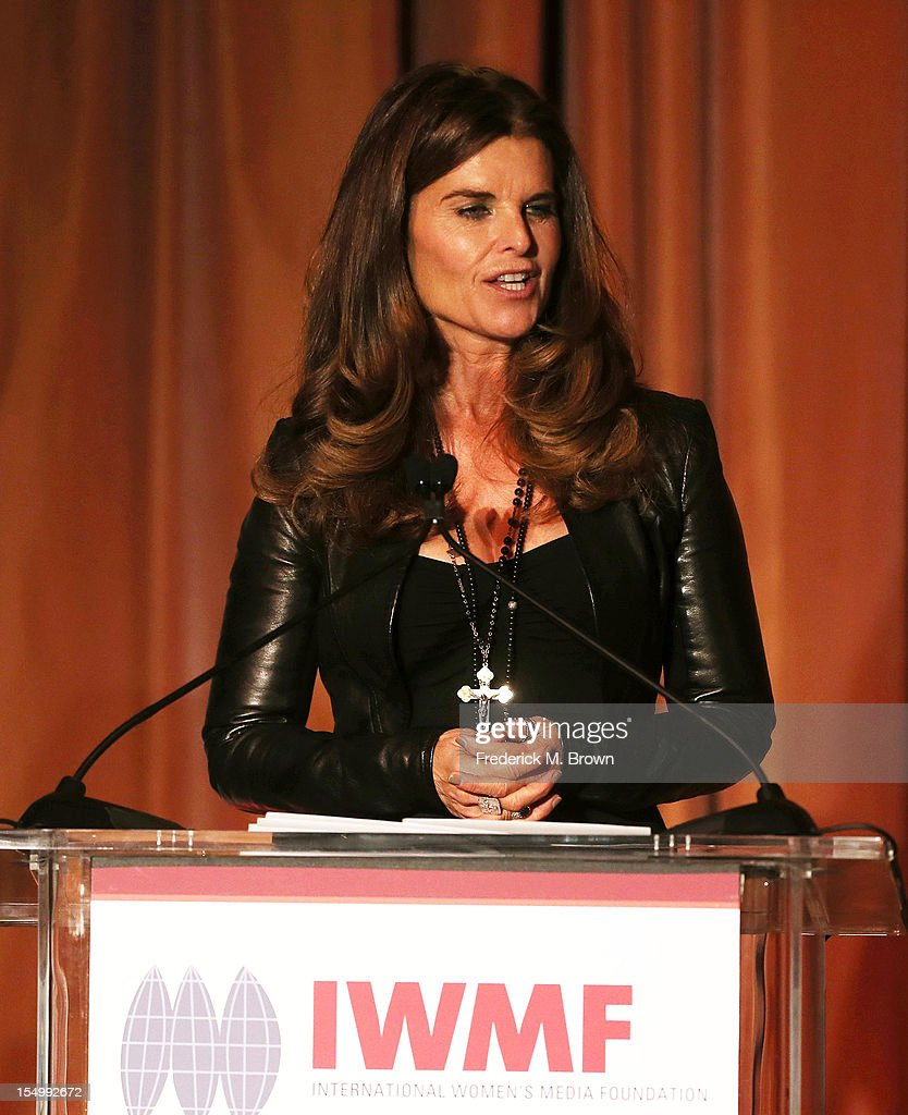 <a gi-track='captionPersonalityLinkClicked' href=/galleries/search?phrase=Maria+Shriver&family=editorial&specificpeople=179436 ng-click='$event.stopPropagation()'>Maria Shriver</a> speaks during the 2012 International Women's Media Foundation's Courage In Journalism Awards at The Beverly Hills Hotel on October 29, 2012 in Beverly Hills, California.