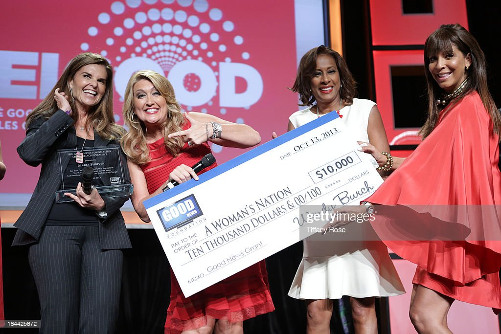 <a gi-track='captionPersonalityLinkClicked' href=/galleries/search?phrase=Maria+Shriver&family=editorial&specificpeople=179436 ng-click='$event.stopPropagation()'>Maria Shriver</a>, Wendy Burch, Pat Harvey and Christine DeVine attends the Good News Foundation's Feel Good event of the year at The Beverly Hilton Hotel on October 13, 2013 in Beverly Hills, California.