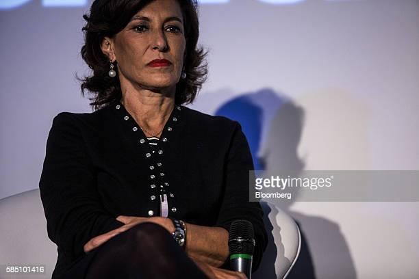 Maria Silvia Bastos chief executive officer of Banco Nacional de Desenvolvimento Economico e Social listens during the 25th anniversary ceremony of...