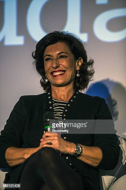 Maria Silvia Bastos chief executive officer of Banco Nacional de Desenvolvimento Economico e Social smiles during the 25th anniversary ceremony of...