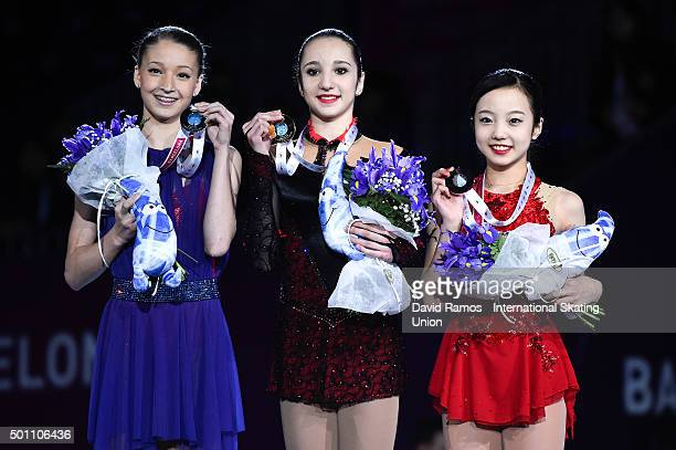 Maria Sotskova of Russia and silver medal Polina Tsurskaya of Russia and gold medal and Marin Honda of Japan and bronze medal pose during the Junior...