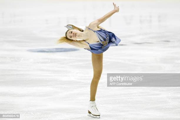 TOPSHOT Maria Sotskova of Russia competes in the ladies' free skating event on October 8 2017 at the ISU figure skating Finlandia Trophy competition...