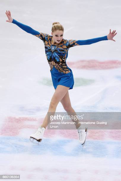 Maria Sotskova of Russia competes in the Ladies Short Program during day one of the World Figure Skating Championships at Hartwall Arena on March 29...