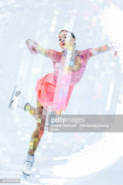 Maria Sotskova of Russia competes in the Ladies Short Program during day one of the ISU Grand Prix of Figure Skating at Polesud Ice Skating Rink on...