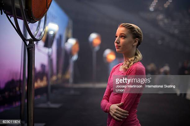 Maria Sotskova of Russia poses for a photo prior to Gala Exhibition on day three of the Trophee de France ISU Grand Prix of Figure Skating at...