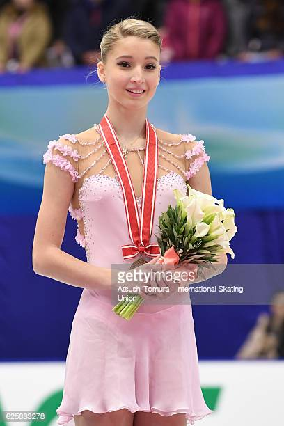 Maria Sotskova of Russia poses on the podium during the ISU Grand Prix of Figure Skating NHK Trophy on November 26 2016 in Sapporo Japan