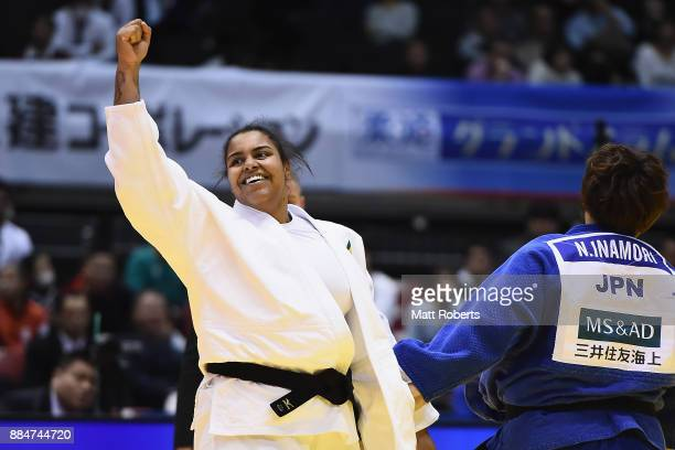 Maria Suelen Altheman of Brazil celebrates victory against Nami Inamori of Japan in the Women's 78kg Bronze Final during day two of the Judo Grand...