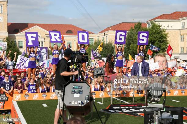 Maria Taylor interviews TCU Horned Frogs head coach Gary Patterson during the ESPN College Gameday broadcast prior to the football game between the...