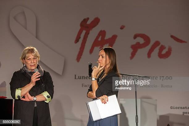 Maria Teresa Amici and Camilla Raznovich attend the show 'MaiPiù' organised by ACEA ahead of the International Day against Violence on Women