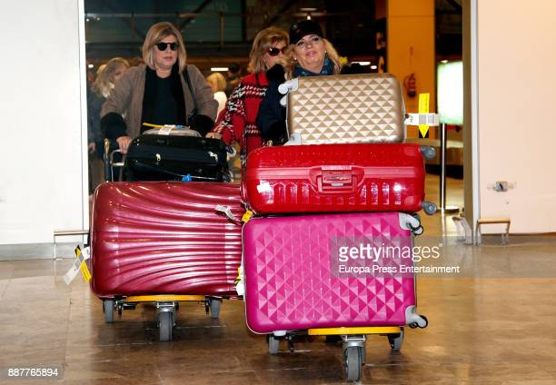Maria Teresa Campos and her daughters Terelu Campos and Carmen Borrego are seen at the airport coming back from New York and Miami where they were...