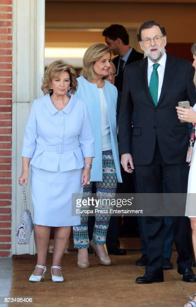 Maria Teresa Campos and Mariano Rajoy attend the Golden Medal of Merit In Work during a ceremony at Moncloa Palace on July 27 2017 in Madrid Spain