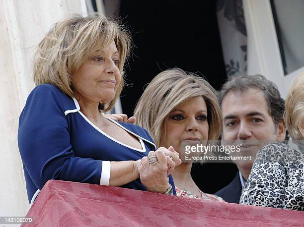 Maria Teresa Campos her daughterTerelu Campos and Carlos Pombo attend Easter Procession on April 1 2012 in Malaga Spain