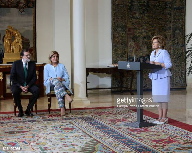 Maria Teresa Campos Mariano Rajoy and Fatima Banez attend receives the Golden Medal of Merit In Work during a ceremony at Moncloa Palace on July 27...