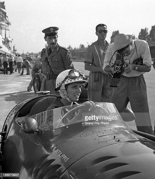 Maria Teresa de Filippis of Italy driver of the Maserati 250F Maserati Straight6 during practice for the Italian Grand Prix on 6th September 1958 at...