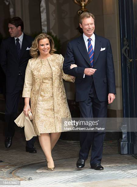 Maria Teresa Grand Duchess of Luxembourg and Henri Grand Duke of Luxembourg leave the Royal Palace for the civil ceremony of Prince Guillaume Of...