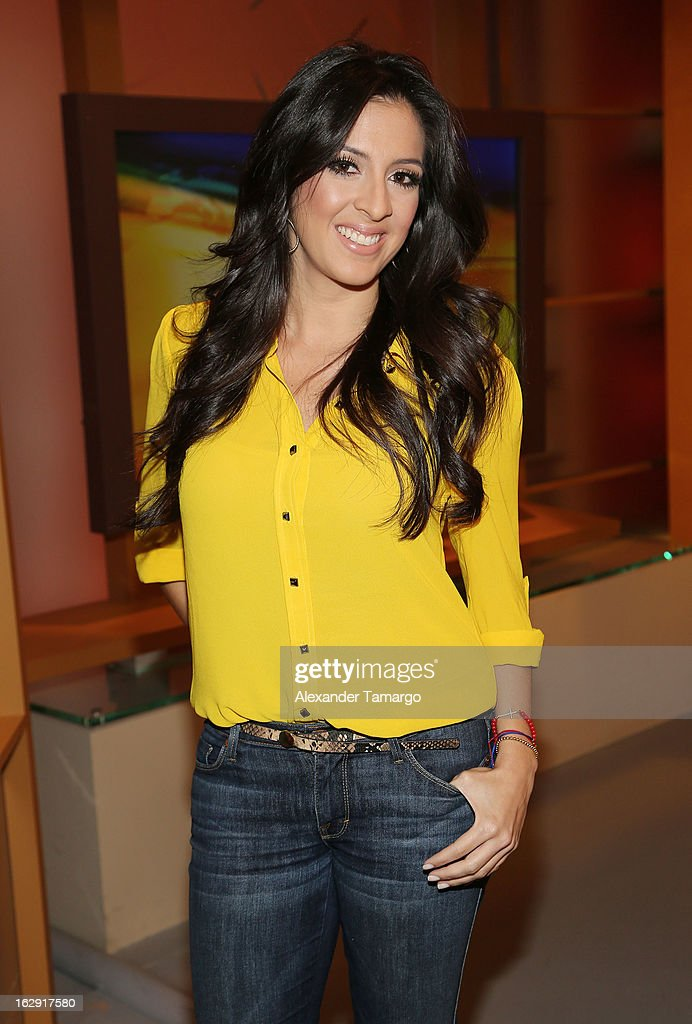 Maria Teresa Interiano celebrates Univision's Tlnovelas cable network first anniversary on Despierta America at Univision Headquarters on March 1, 2013 in Miami, Florida.