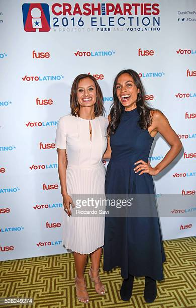 Maria Teresa Kumar and Rosario Dawson attend the Voto Latino 7th annual 'Our Voices Celebrating Diversity in Media' reception at the Hay Adams Hotel...