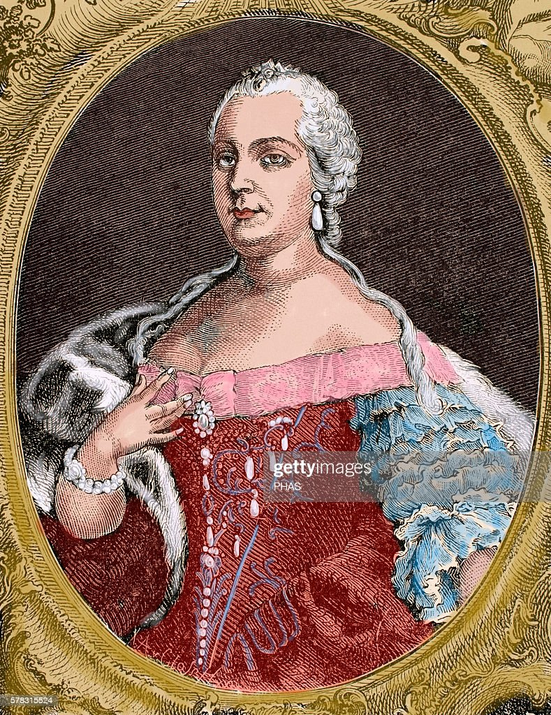 Maria Theresa Archduchess of Ausria Queen of Hungary and Bohemia Portrait Engraving by de Petit 1743 Engraving by Germania 1882 Colored