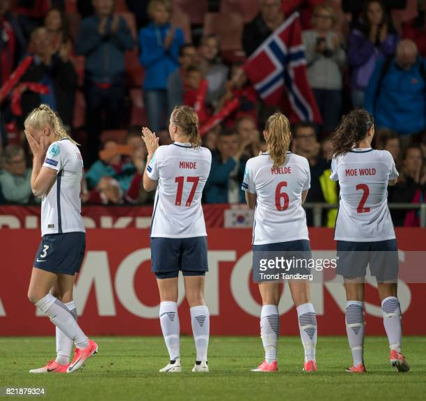 Maria Thorisdottir Kristine Minde Maren Mjelde Ingrid Moe Wold of Norway after the UEFA Womens«s Euro between Norway v Denmark at Stadion De...