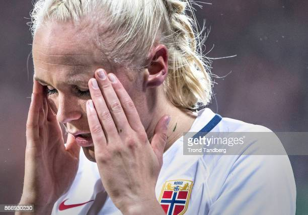 Maria Thorisdottir of Norway during the FIFA 2018 World Cup Qualifier between Netherland and Norway at Noordlease Stadion on October 24 2017 in...