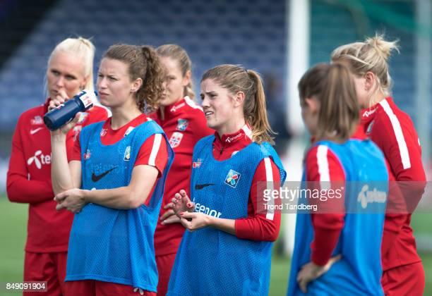 Maria Thorisdottir Synne Skinnes Hansen Maren Mjelde of Norway during training session before FIFA 2018 World Cup Qualifier between Norway v Slovakia...