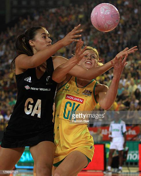Maria Tutaia of New Zealand contests with Laura Geitz of Australia during game one of the International Test match series between the Australian...