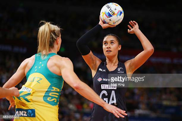 Maria Tutaia of New Zealand shoots during the 2015 Netball World Cup match between Australia and New Zealand at Allphones Arena on August 9 2015 in...