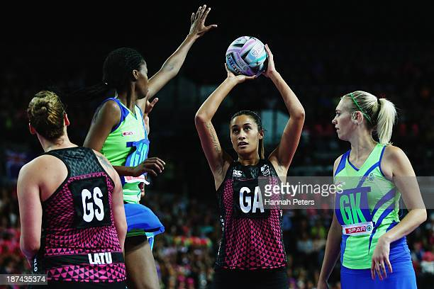 Maria Tutaia of New Zealand shoots during the match between New Zealand and South Africa on day two of the Fast5 Netball World Series at Vector Arena...