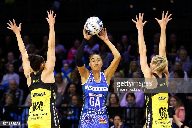 Maria Tutaia of the Mystics looks to beat the defence of Whitney Souness and Katrina Grant of the Pulse during the New Zealand Premiership match...
