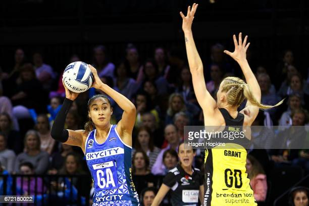 Maria Tutaia of the Mystics looks to pass through the defence of Katrina Grant of the Pulse during the New Zealand Premiership match between the...