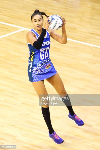 Maria Tutaia of the Mystics receives a pass during the New Zealand Premiership match between the Pulse and the Mystics TSB Bank Arena on April 24...