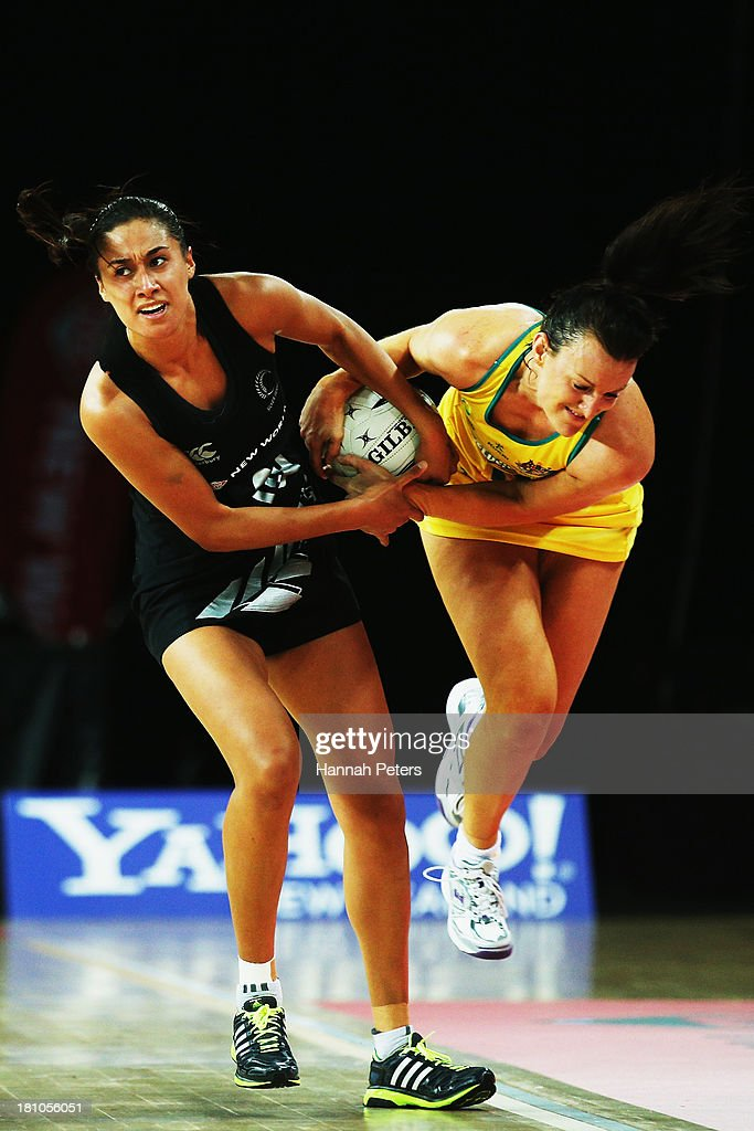 Maria Tutaia of the Silver Ferns competes with Bianca Chatfield of Australia during game two of the Constellation Series between the New Zealand Silver Ferns and the Australian Diamonds at Vector Arena on September 19, 2013 in Auckland, New Zealand.