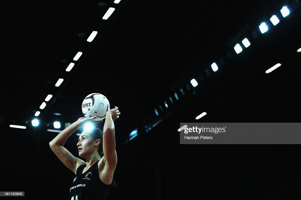 Maria Tutaia of the Silver Ferns shoots during game two of the Constellation Series between the New Zealand Silver Ferns and the Australian Diamonds at Vector Arena on September 19, 2013 in Auckland, New Zealand.