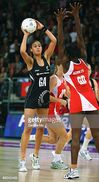 Maria Tutaia the Silver Ferns looks to pass around Ama Agbeze of England during game one of the New World International Netball Series between the...
