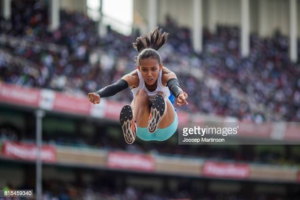 Maria Valentina Parra of Venezuela competes in the girls long jump during day 5 of the IAAF U18 World Championships at Moi International Sports...