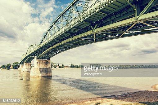 Maria Valeria bridge from Esztergom, Hungary to Sturovo : Stock Photo