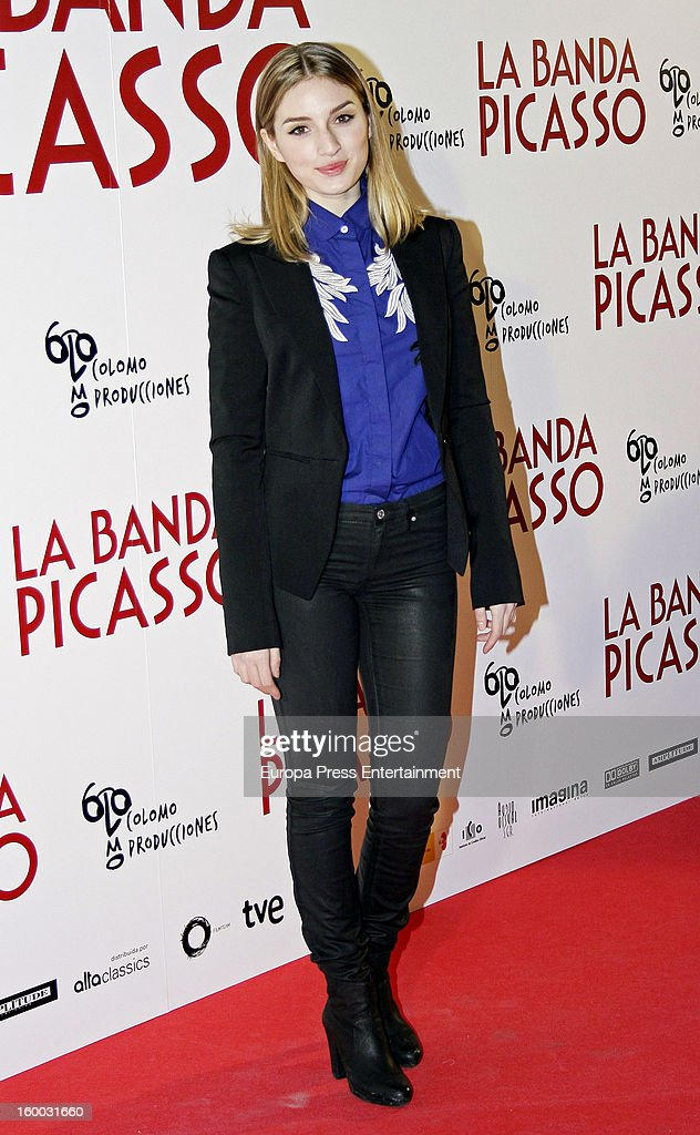<a gi-track='captionPersonalityLinkClicked' href=/galleries/search?phrase=Maria+Valverde&family=editorial&specificpeople=235988 ng-click='$event.stopPropagation()'>Maria Valverde</a> attends 'La Banda Picasso' premiere on January 24, 2013 in Madrid, Spain.