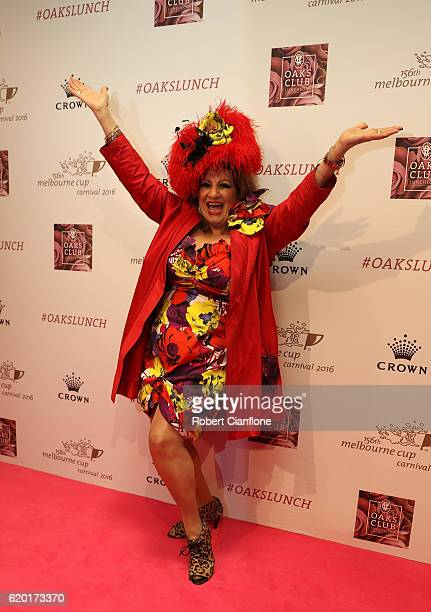 Maria Venuti arrives for the VRC Oaks Club Luncheon at Crown Palladium on November 2 2016 in Melbourne Australia