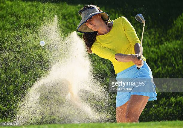 Maria Verchenova of Russia plays a shot during practice prior to the start of the Evian Championship Golf on September 13 2016 in EvianlesBains France